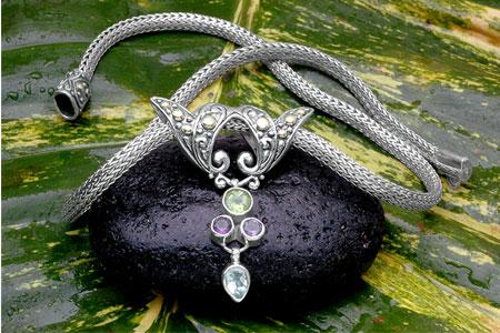 Bali Jewelry Bali Motif SN527StGaCt Gallery 1